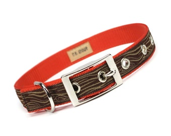 SALE - orange and brown wood grain metal buckle dog collar (3/4 inch)