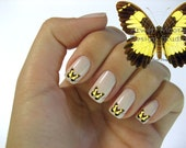 Beautiful Mod Brown/Yellow Butterfly Nail Art Waterslide Water Slide Miniatures Decals - bf-013