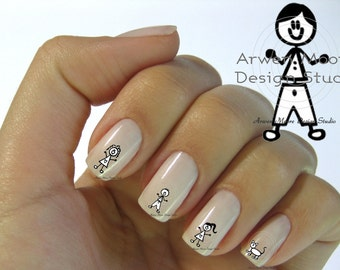 Funky Fun Cute Stick Family of 5 Collection Nail Art Waterslide Water Minitures Decals - fm_004