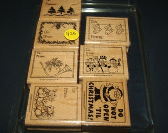 Stampin' Up Christmas Tags Stamp Set /RETIRED/ Wood mounted Brand New