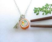 California Maki Rolls Sushi - Food jewelry food necklace, polymer clay (calif N1)