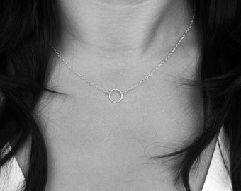 Tiny Circle Necklace in Sterling Silver