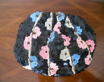 Sequin and Bead Evening Bag Black Blue white pink and gold vintage 1940s