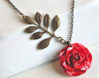 Real Red Rose Necklace -  Flower Jewelry, Natural Preserved, Antiqued Brass
