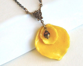Real Rose Petal Necklace - Yellow, Real Flower Jewelry