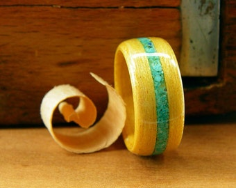 Bentwood Ring Yellowheart with Turquoise Inlay