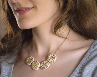 Necklace - Handmade Ceramic Beads -Cream and Gold - Ivory with Swirls - Unique Necklace - Gift for Her - One of a Kind OOAK - Ready to Ship