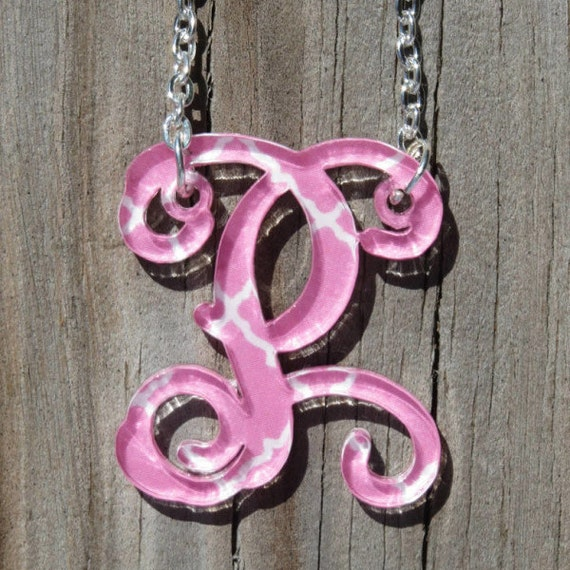 Items similar to monogrammed initial acrylic necklace on etsy for Acrylic letter necklace