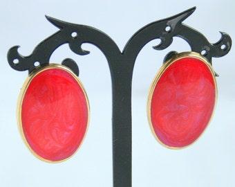 1980s Red Swirl Earrings Vintage Red Purple Enamel Swirls Big Ovals