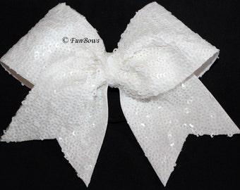 STUNNING White Sequin Cheerleading Allstar Hairbow