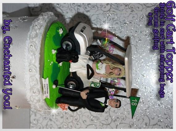 Cart Golf Golfing Wedding Cake Topper Custom Personalized