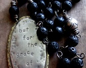 Custom Rosary Hand Stamped Necklace Spiritual Catholic Religious Wood Stone Black Brown Choose Your Phrase Inspirational
