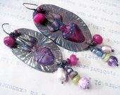 The Miracles. Handmade painted milagro rustic tin earrings with hot pink fuchsia.