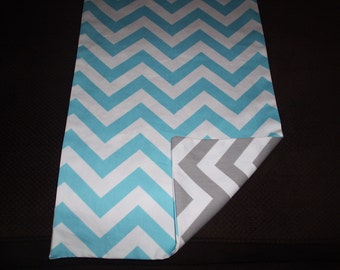 Blue and Gray Reversible Chevron Table Runner