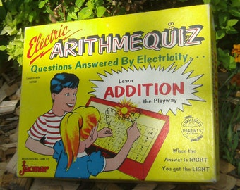 Vintage Jacmar Electric Arithme Quiz Game - Disney Characters Mickey Mouse Donald Duck - Old Math Game - Learning Game - Collectible Game