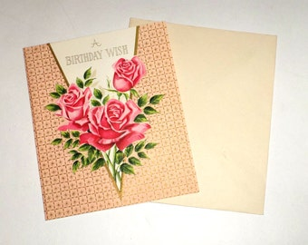 Vintage Birthday Card - Red Roses Card - Religious Card with Envelope - Unused Birthday Card - Roses Birthday Wishes Card