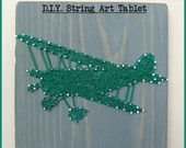 "DIY String Art Pattern - Propeller Plane - 10"" x 6"""