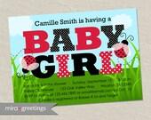 Ladybug Baby Shower Invitation - Polka Dot Pattern - Swiss Dots baby girl shower invite (Printable Digital File)
