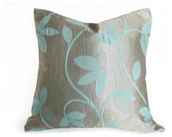 Blue Silver Pillows, Metallic Pillow, Leaves Pillow, Turquoise Blue Cushion Cover, Dorm Decor, 12x18 Lumbar, 16x16, 18x18, 20x20, 22x22