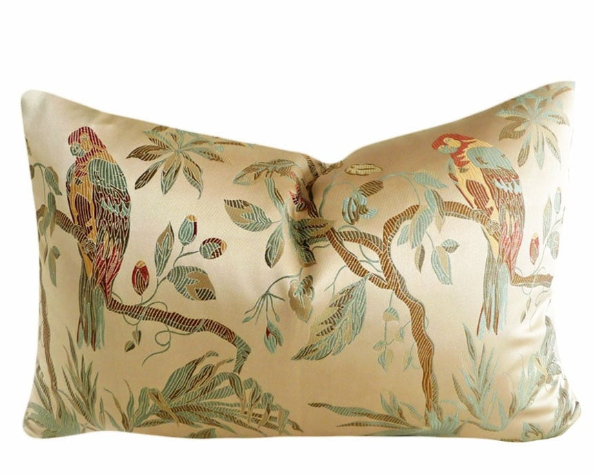 birds throw pillow luxury decorative floral cushion cover