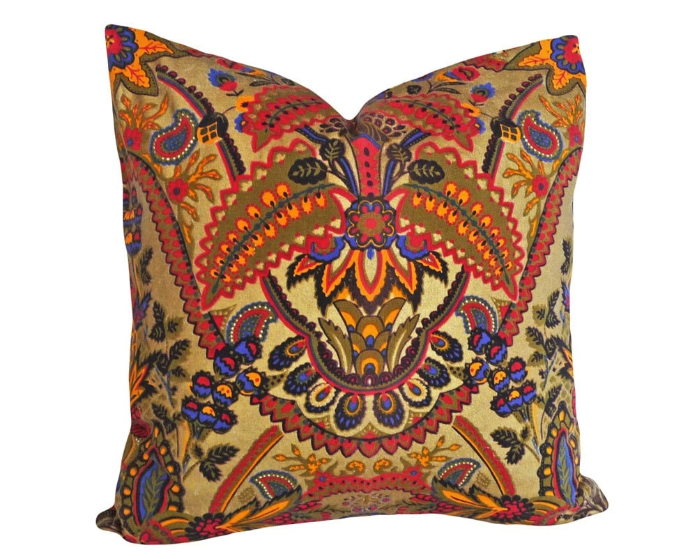Bohemian Pillows Boho Chic Pillow Covers Colorful Gold Red