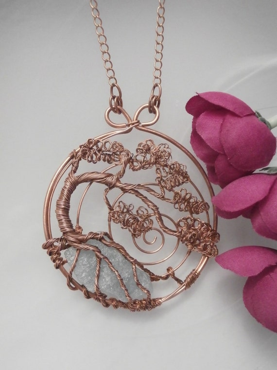 Wire Wrapped Tree Of Life Pendant Copper With Aqua Marine