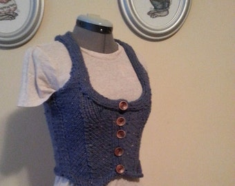 Tweed Vest handmade knit steampunk