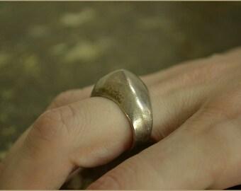 Vintage sterling silver Ring 925 huge geometic shape - steampunk avant guarde sci-fi modernist