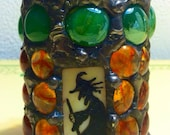 Gothic Stained Glass Mosaic Painted Witch Castle Candle Holder Halloween