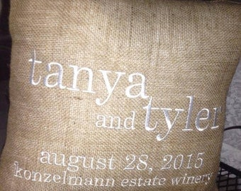 Personalized BURLAP PILLOW Browns - Wedding/Anniversary Gift with wedding Date - Names - Time - Location Subway Typography Art