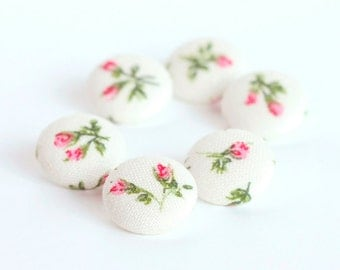 Fabric Buttons, Shabby Cottage Chic Little Rosebuds, 6 Small Pink and Green Flowers on White Fabric Covered Buttons, Fabric Button, Clothing