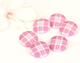 Fabric Buttons, Pink Plaid, with White, 6 Small Fabric Covered Buttons, Shabby Cottage Chic, Fabric Button, Sewing Clothing Knitting