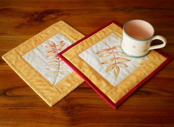 Quilted Fabric Mug Rug - Autumn Leaves - 1 or 2 or 4 Reversible Patchwork Mini Quilts Candle Mat Set - Red Yellow Quilting Nature