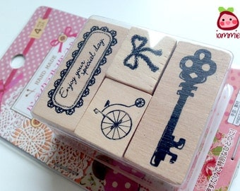 Rubber Stamps, girl, cute, bicycle, bow, lace, key, FOUR patterns, stamp, ink pad, wood, card decoration, card, decor, scrapbook, crafting