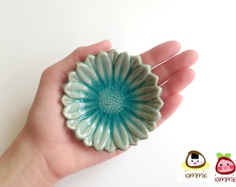Ceramic Plate, sunflower, ceramic saucer, soap dish, light blue, sauce, small, ceramic bowl, decoration, decor, decorative, saucer, round