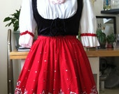 Vintage Red and White drindl style dress with Black corset style vest Oktoberfest dress