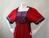 Beautiful Vintage 1970's Embroidered Crimson and Dark Blue Ethnic Midi Dress Made In Afghanistan