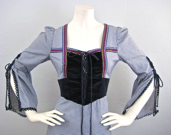 "Vintage 1969 Black Label ""Gunne Sax by Jessica"" Very Rare! Renaissance Style Gingham Maxi Dress"