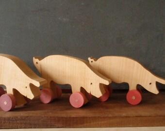 pig wooden push toy -  piglets on wheels / farm animal eco-friendly kids
