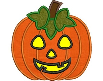 Applique Jack O Lantern Pumpkin Halloween Embroidery Designs 4X4 and 5X7 Included - Instant Download Sale