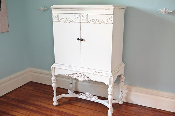 Tv Cabinet Shabby Chic White Distressed Antique Cottage