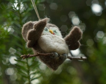 Needle Felted Owl Zombie Ornament