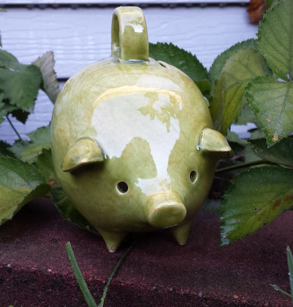 The HOARD HOG Vintage Olive Moss Ceramic Piggy Bank  ready to ship