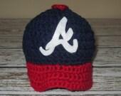 Newborn Crochet Atlanta Braves Inspired Baseball Cap Photo Prop Made to Order