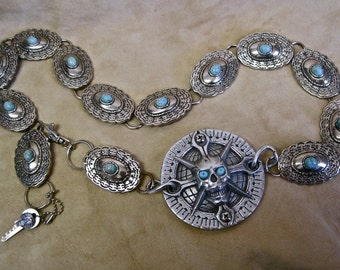 Pirate Skull Belt Compass Metal Concho Vintage Assemblage Silver Conchos Faux Turquoise RARE Collectible Motorcycle Trim Zambini Bros.