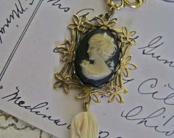 Deco Doll: Cameo Choker Vintage Assemblage Necklace Victorian Gothic Romantic Delicate Pearls Carved Bone TULIPS One of a Kind OOAK