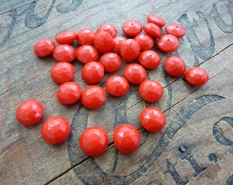 Vintage Cabochon Faceted Cherry Red Glass Cab 10mm (6)