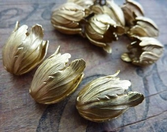 Bead Cap Large Brass Tulip Bead Caps (2)