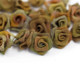 Brass Rose Charm, 10 Raw Brass Wire Mesh Folded Rose Sculpture 14mm  D019--C047