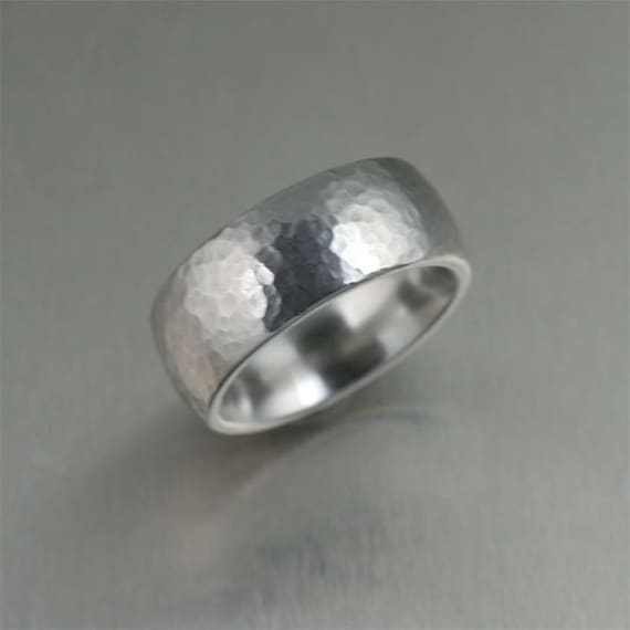 9mm Hammered Stainless Steel Mens Ring Mens Hammered Wedding